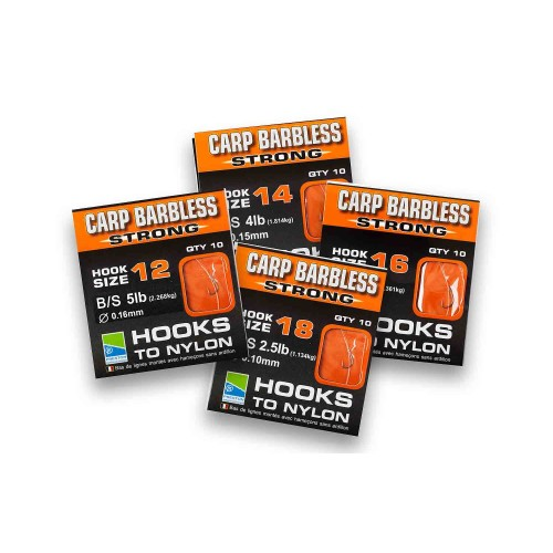 BARBLESS CARP STRONG HOOKS TO NYLON - SIZE 18